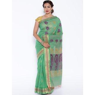 Sudarshan Silks Green Cotton Self Design Saree With Blouse
