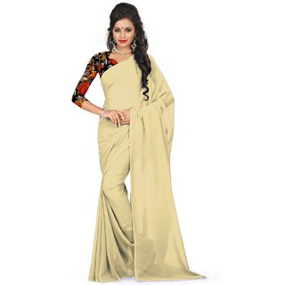 Sudarshan Silks Cream Georgette Self Design Saree With Blouse