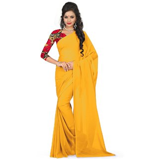 Sudarshan Silks Yellow Polyester Self Design Saree With Blouse