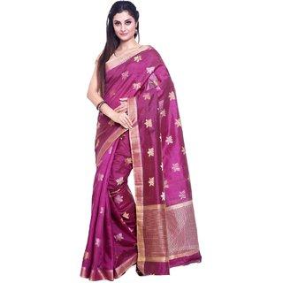 Sudarshan Silks Purple Self Design Raw Silk Saree with Blouse