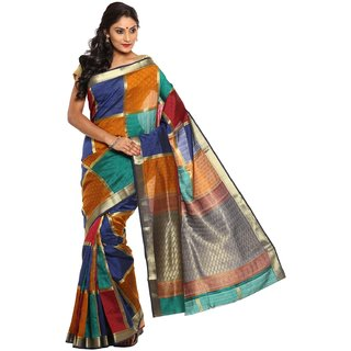 Sudarshan Silks Multicolor Self Design Tussar Silk Saree with Blouse