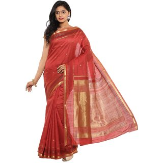 Sudarshan Silks Red Tussar Silk Self Design Saree With Blouse