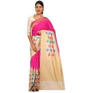 Sudarshan Silks Multicolor Printed Raw Silk Saree with Blouse
