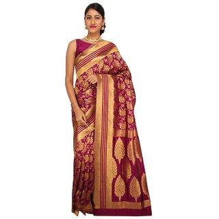 Sudarshan Silks Purple Raw Silk Printed Saree With Blouse