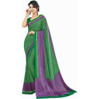 Sudarshan Silks Green Crepe Self Design Saree With Blouse