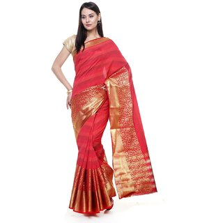 Sudarshan Silks Red Raw Silk Self Design Saree With Blouse