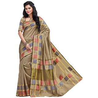 Sudarshan Silks Gray Self Design Synthetic Saree with Blouse