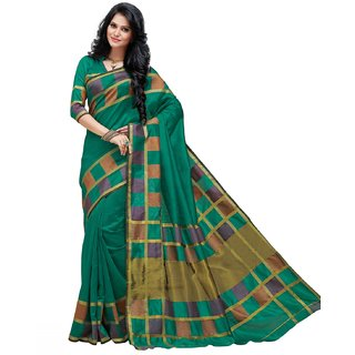 Sudarshan Silks Green Self Design Synthetic Saree with Blouse