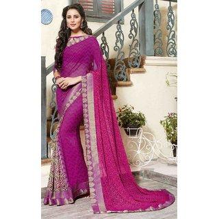 Sudarshan Silks Purple Self Design Georgette Saree with Blouse