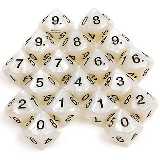 DICE 10-Sided (D10) Polyhedral GRAY Pearlized _ Bundle of 18 Dice