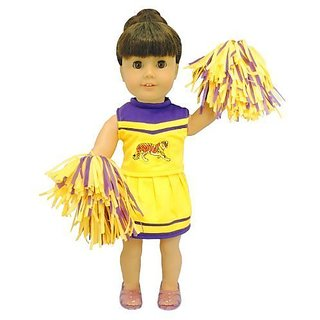 Beautiful Cheerleader Set: Skirt, Panties, Top & Pom poms.-Doll and shoes are NOT Included.-Fits American Girl Dolls, M