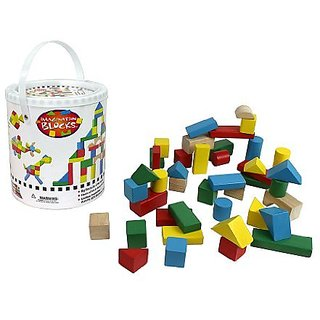 Promote electronic free learning with Classic Wood Building Blocks-100% Real Wood - 100% Lead and BPA Free-42 Pieces pe