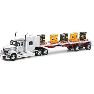 Newray International Lonestar Flatbed with Radioactive Waste Barrels 1 32 Scale Model Toy Truck