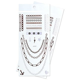 Zooky Metallic Bracelet and necklace Love Anchor Chain charms Waterproof Temporary Jewelry fake Tattoo Body Stickers LH