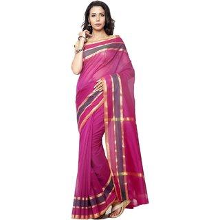 Sudarshan Silks Purple Cotton Self Design Saree With Blouse