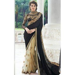 Sudarshan Silks Black Georgette Geometric Saree With Blouse