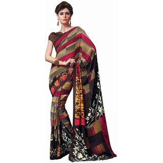 Sudarshan Silks Multicolor Polyester Geometric Saree With Blouse