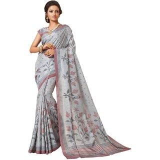 Sudarshan Silks Silver Cotton Plain Saree With Blouse