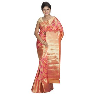 Sudarshan Silks Pink Silk Geometric Saree With Blouse