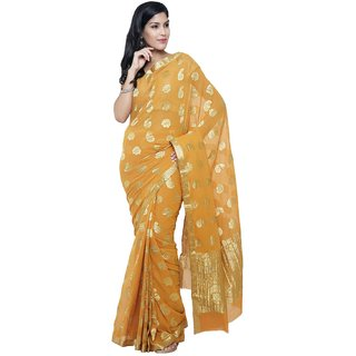 Sudarshan Silks Orange Chiffon Self Design Saree With Blouse
