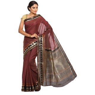 Sudarshan Silks Brown Tussar Silk Self Design Saree With Blouse
