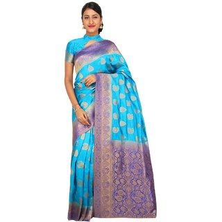 Sudarshan Silks Blue Raw Silk Printed Saree With Blouse