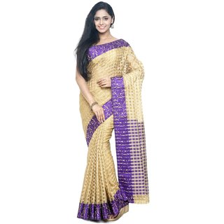 Sudarshan Silks Gold Raw Silk Self Design Saree With Blouse