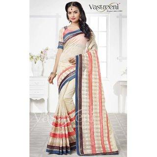 Sudarshan Silks Cream Silk Geometric Saree With Blouse