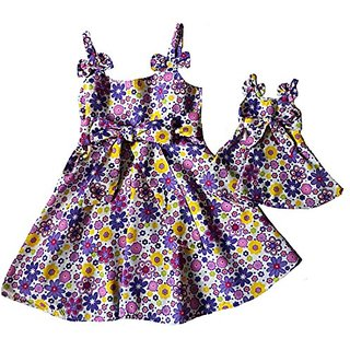 Size 4 Matching Girl And Doll Flair Dress Bow Trim