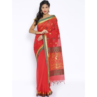 Sudarshan Silks Red Cotton Self Design Saree With Blouse