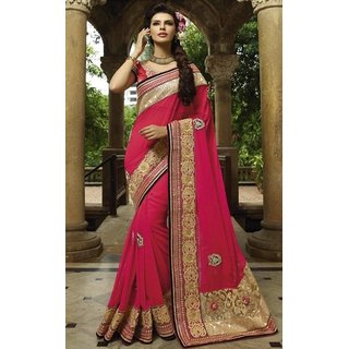Sudarshan Silks Red Georgette Geometric Saree With Blouse