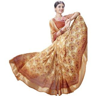 Sudarshan Silks Beige Cotton Self Design Saree With Blouse
