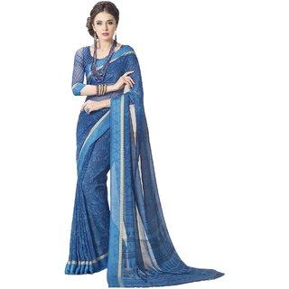Sudarshan Silks Blue Cotton Self Design Saree With Blouse