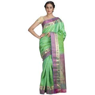 Sudarshan Silks Green Silk Geometric Saree With Blouse