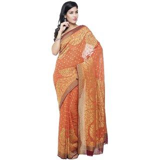 Sudarshan Silks Pink Chiffon Self Design Saree With Blouse