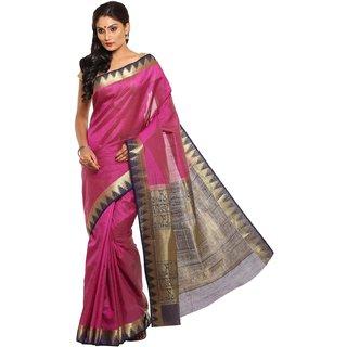 Sudarshan Silks Purple Tussar Silk Self Design Saree With Blouse
