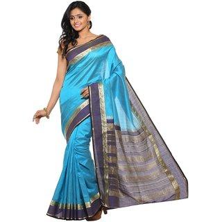 Sudarshan Silks Blue Chiffon Self Design Saree With Blouse