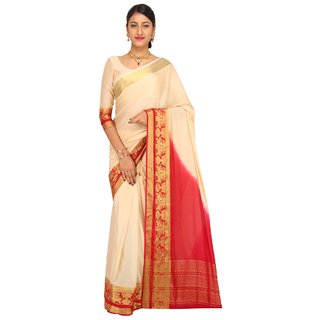 Sudarshan Silks White Crepe Self Design Saree With Blouse