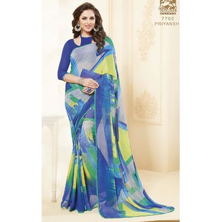 Sudarshan Silks Multicolor Georgette Embroidered Saree With Blouse