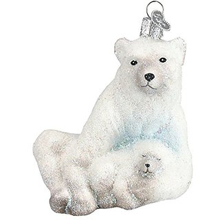 Old World Christmas Polar Bear with Cub Glass Blown Ornament