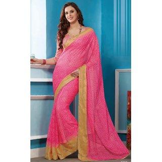 Sudarshan Silks Pink Polyester Geometric Saree With Blouse