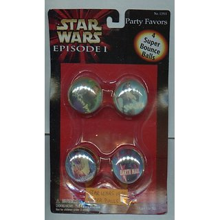 Star Wars Episode 1 4 Super Bounce Picture Balls with Star Wars Picture Inside of Balls 1999 Rare