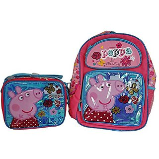 Peppa Pig Backpack and Lunch Bag Set ( Large Backpack and Lunch Bag)