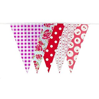 10 Metre Garden Party BUNTING 20 flags 30 feet length Vintage Floral Dots Check Flags [C1005]