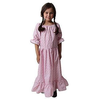 Girls Calico Print Floral Pioneer Dress (size 4 6)