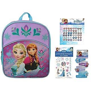 Disney Frozen Backpack, Tattoo, Hair Clips, Earrings ~ Gift Set