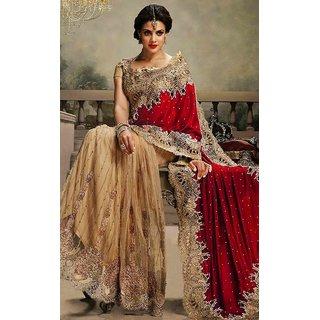 Sudarshan Silks Red Net Geometric Saree With Blouse