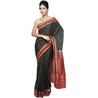 Sudarshan Silks Black Tussar Silk Self Design Saree With Blouse