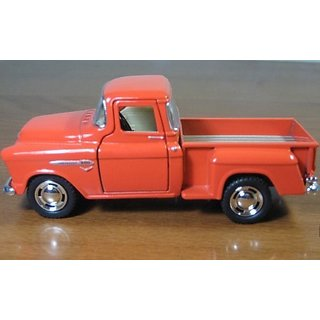 1 32 Scale 1955 Chevy Stepside Pick-up Truck Metal Diecast Model Collection Pull Back Action Kinsmart Orange