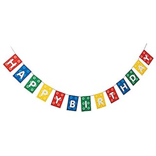 Blocks Brick Party Happy Birthday Banner - Paper. 7 ft.
